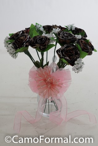 Dozen Mossy Oak Long Stem Roses with Pink Bow Vase Not Included