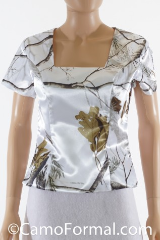 Camo Square Neck Top with Sleeves