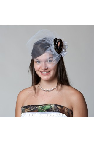 Birdcage Veil with Rose in Mossy Oak