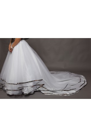 Triple Net Bridal Skirt with Camo Trim