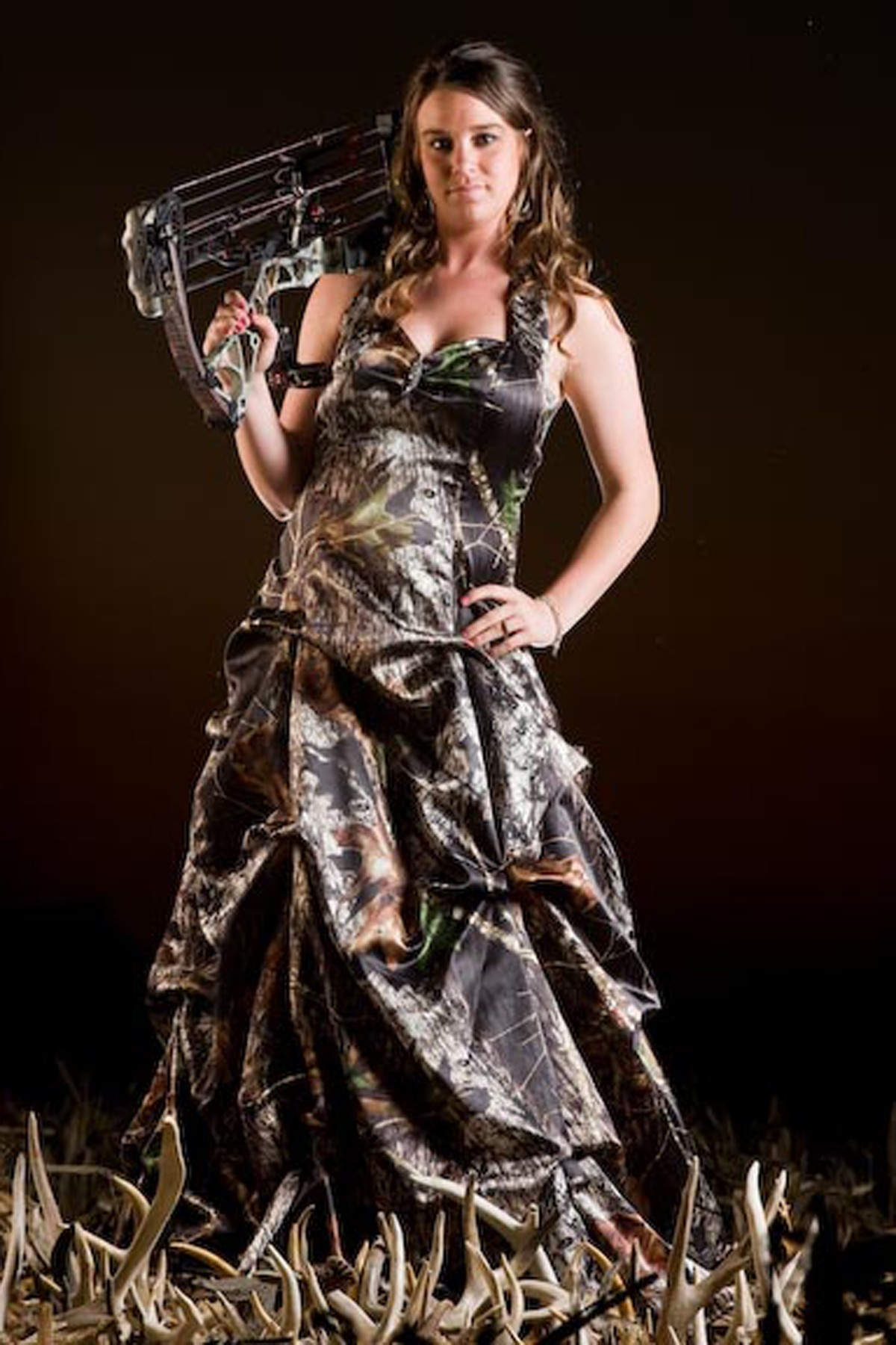 3042 Camo Halter Dress With Pickups Camouflage Prom