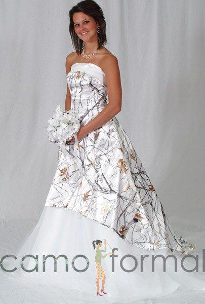 Mossy oak new breakup attire camouflage prom wedding for Snow white camo wedding dress