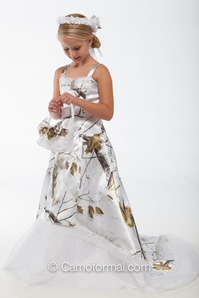 White Camo Flower Girl Dresses 100
