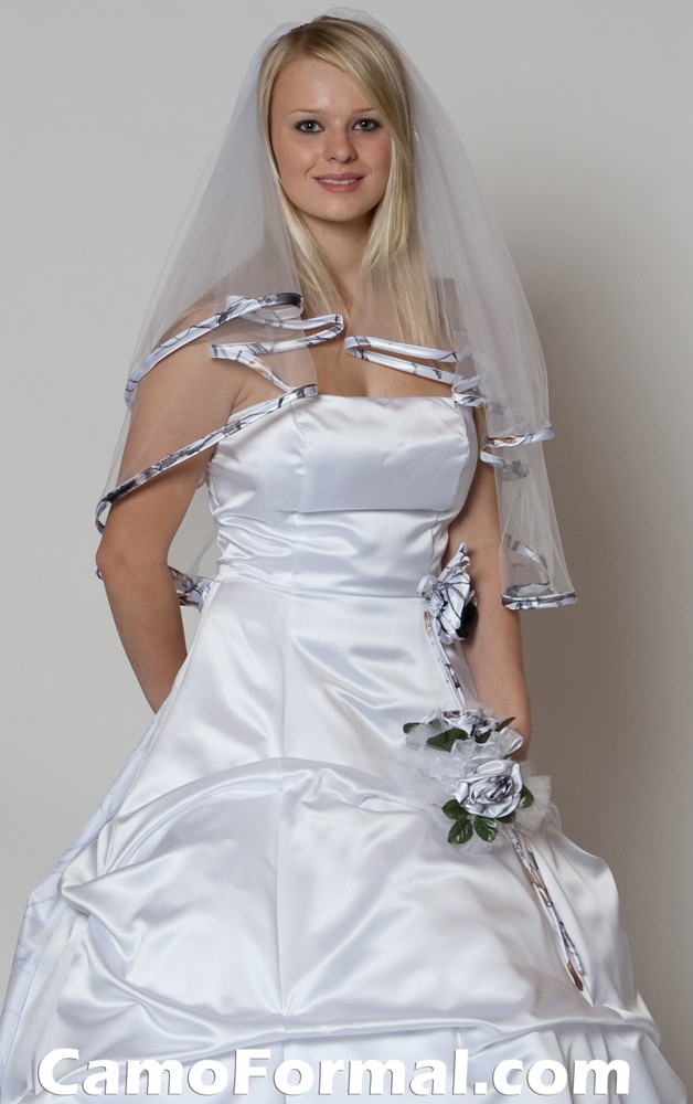 Bridal and wedding dress with camouflage sash camouflage for Camo accented wedding dresses