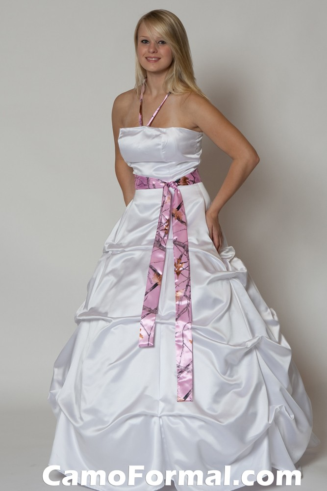 Bridal and wedding dress with camouflage sash camouflage for Camo ribbon for wedding dress