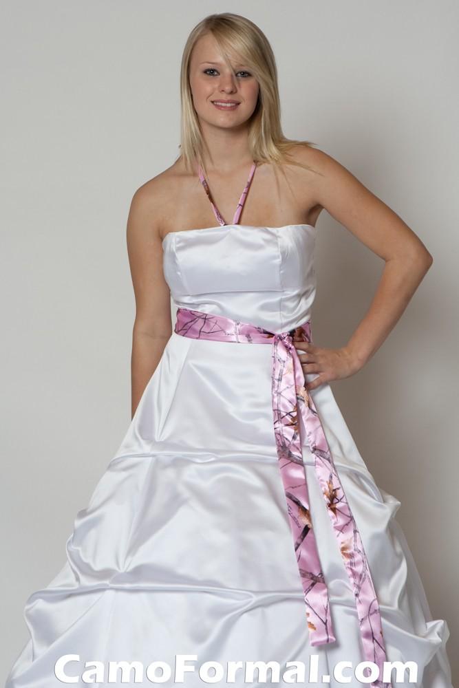 Pink snowfall camo wedding dresses bridal and wedding dress with