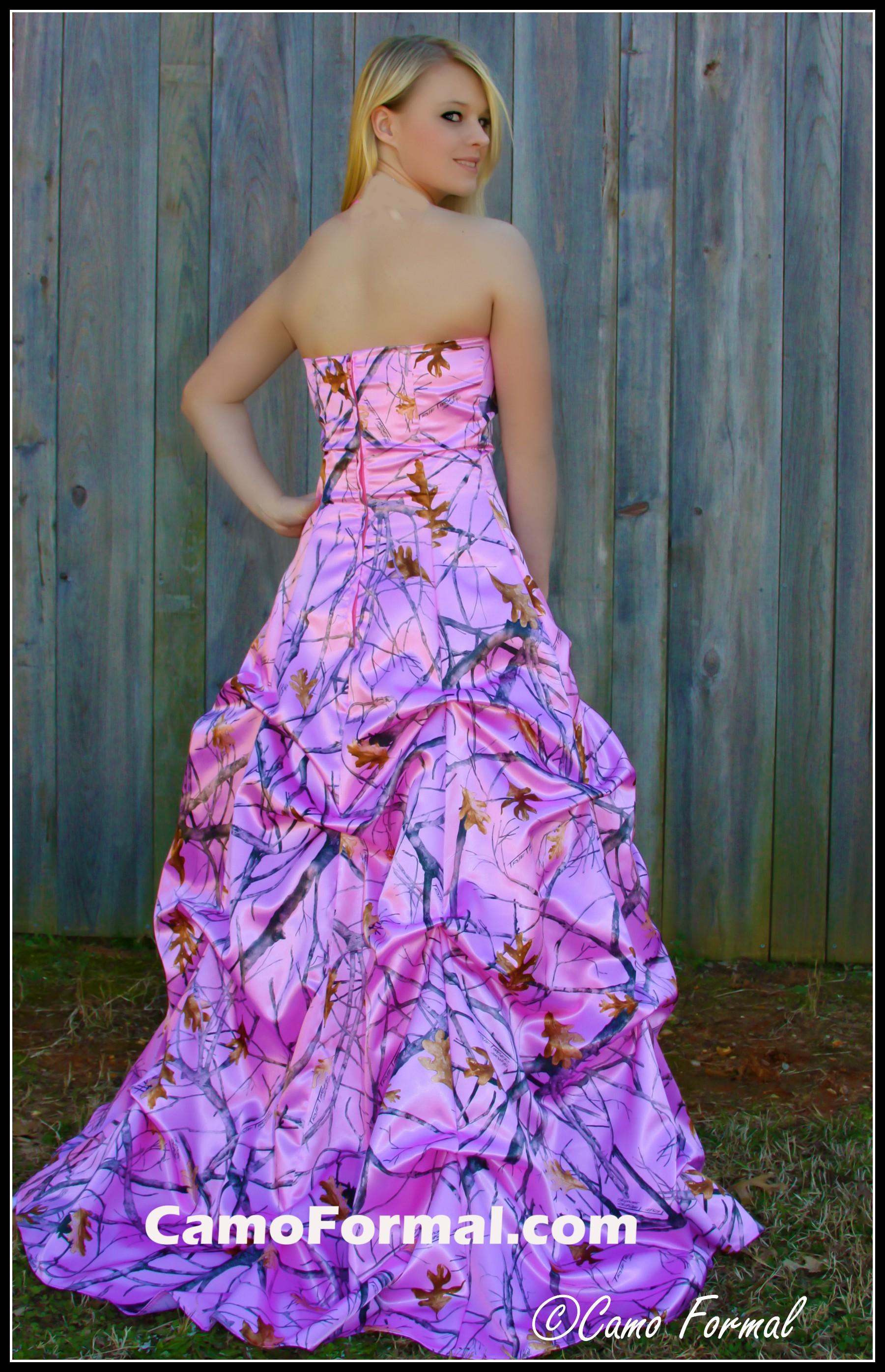 Mossy oak new breakup attire camouflage prom wedding for Pink camo wedding dresses