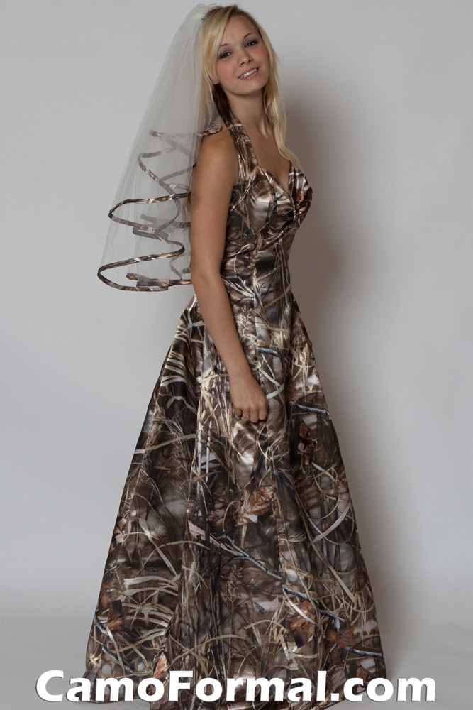 3049 camo prom formal or wedding dress camouflage prom for Camo accented wedding dresses
