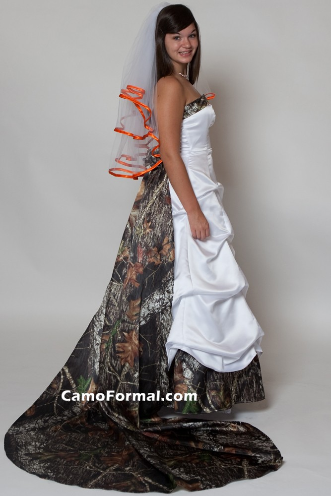 Mossy oak new breakup attire camouflage prom wedding for Where to buy camo wedding dresses