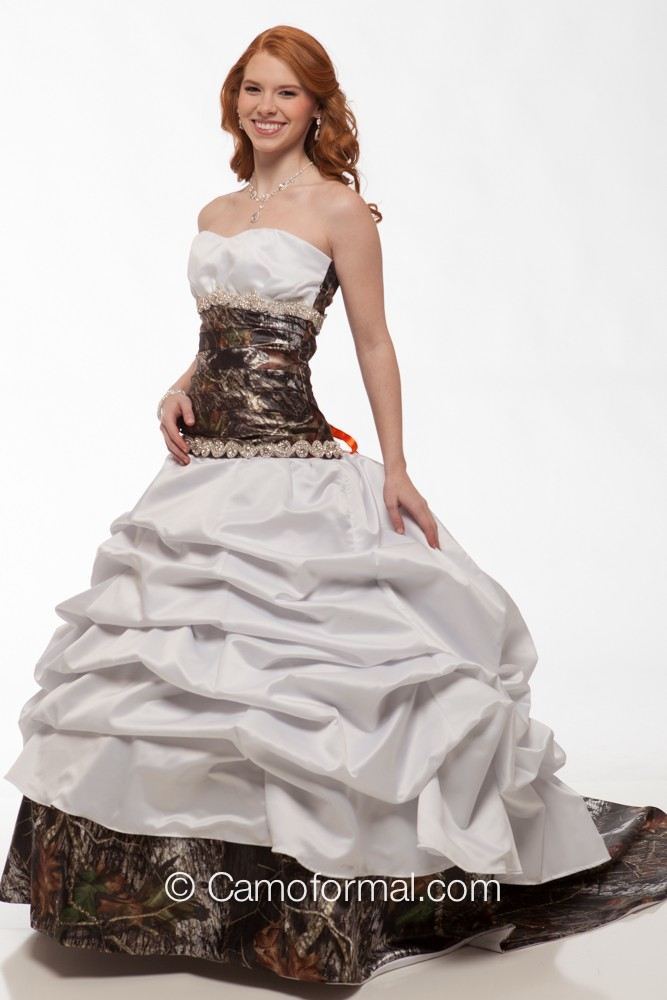 3140 tina camo and crystals wedding gown camouflage prom for Camo ribbon for wedding dress