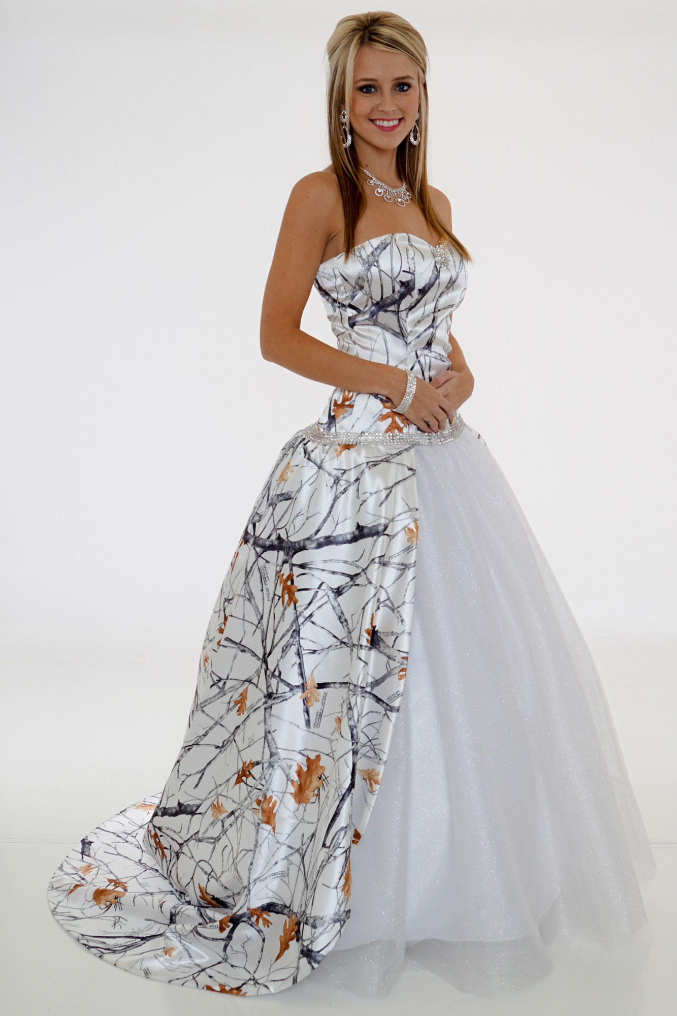 Camo Wedding Gown Glitter Net With Train Camouflage Prom