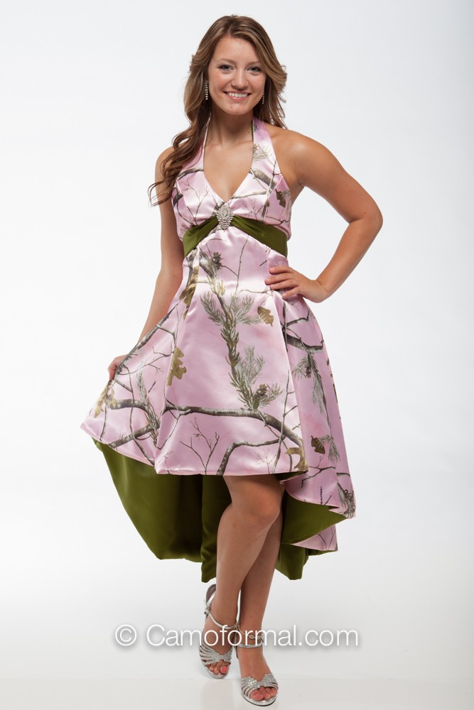 3659m Camo Hi Low With Retro Net Skirt Camouflage Prom