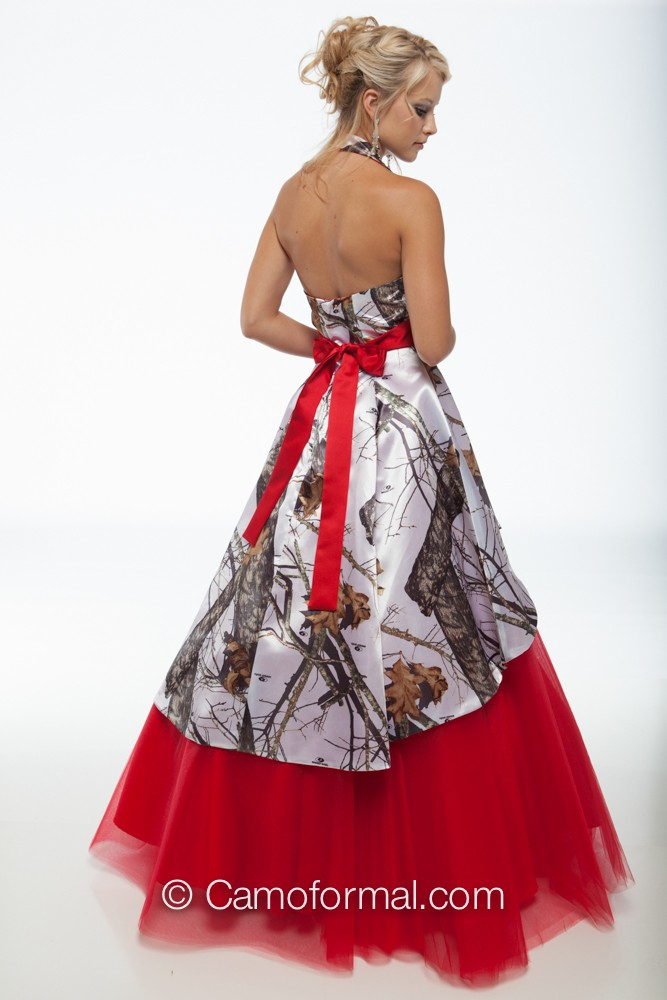 3659m camo ball gown over circle net skirt camouflage prom for Red camo wedding dresses