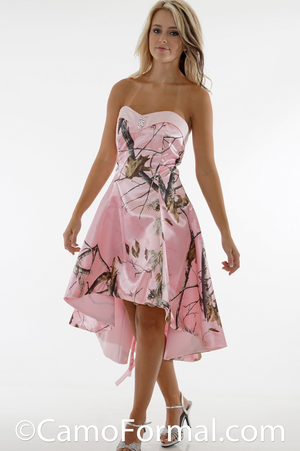3659s Sweetheart Flare Skirt Hi Low Camouflage Prom