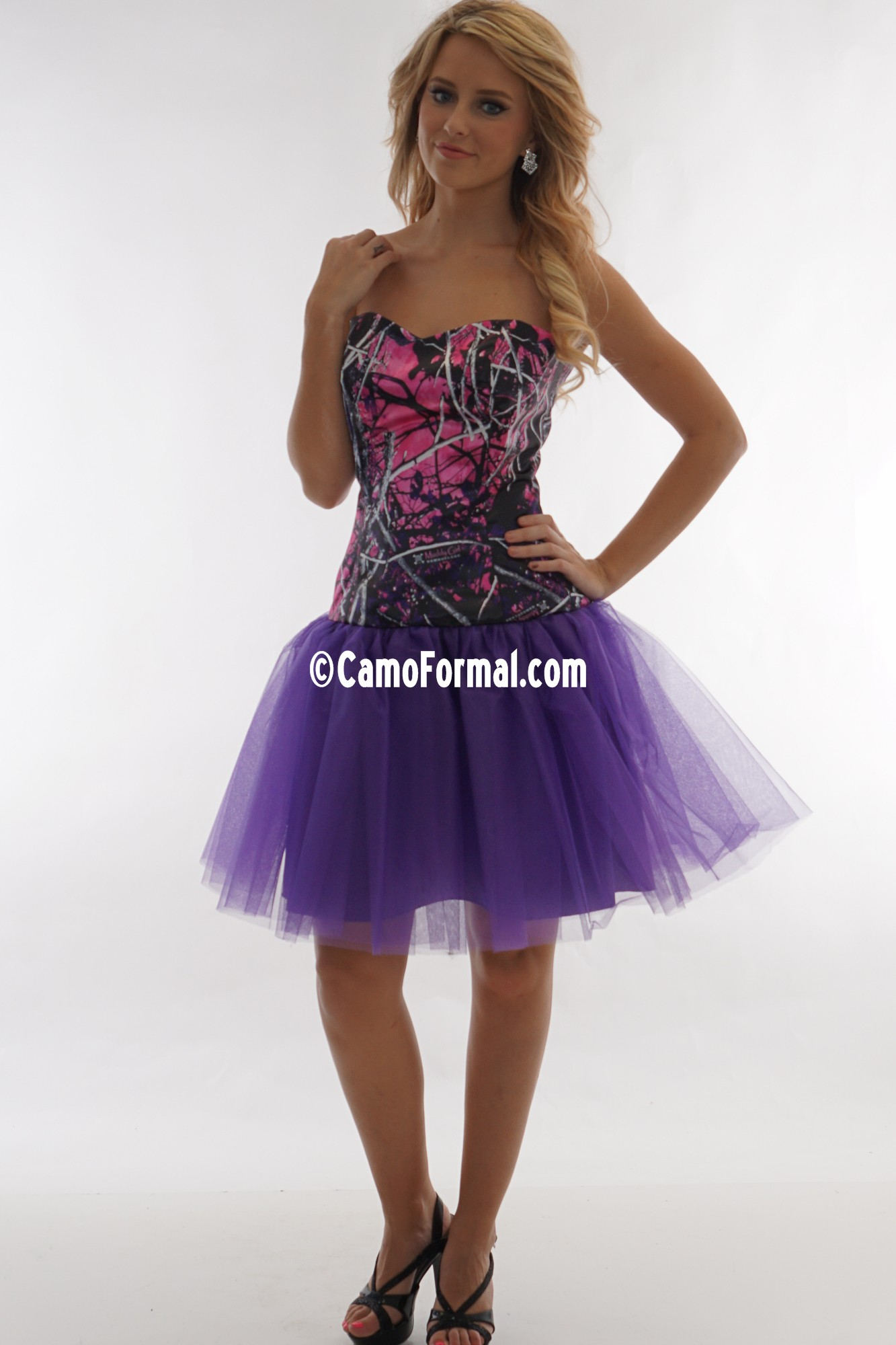 3660gn Glitter Net Short Camo Camouflage Prom Wedding