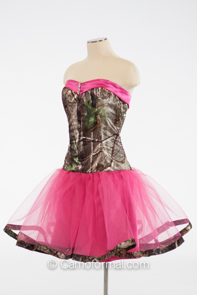 3660 Payton Short Sweetheart Dress With Camo Trim Camouflage Prom Wedding Homecoming Formals