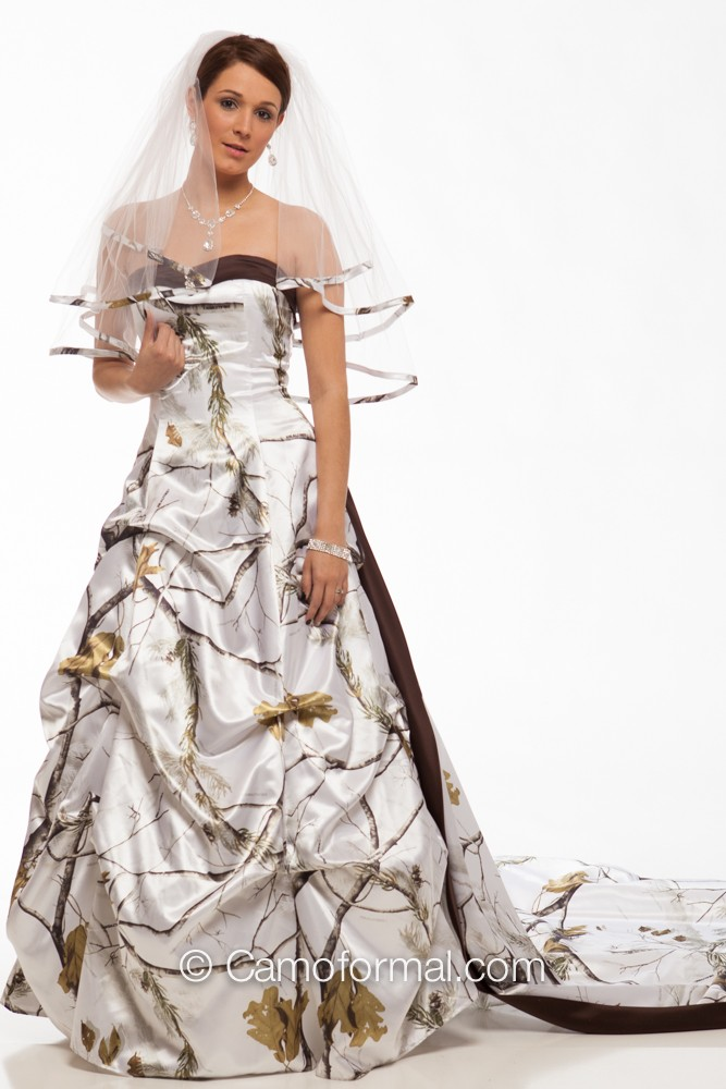 3771 gabby pickup dress and accent train camouflage prom for Camo accented wedding dresses