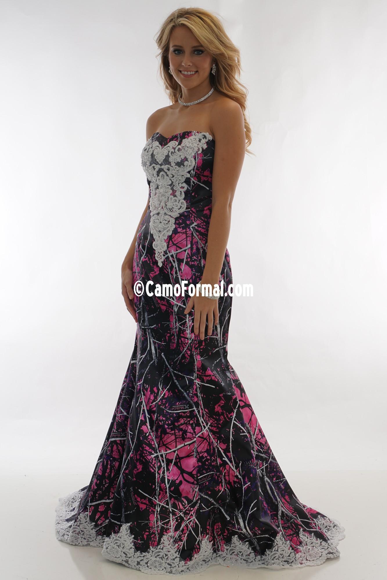 3887 Ellen Camo Mermaid Wedding Gown With Sweep Train