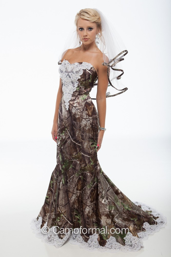 "3887 ""Ellen"" Camo Mermaid Wedding Gown with Sweep Train Camouflage ..."