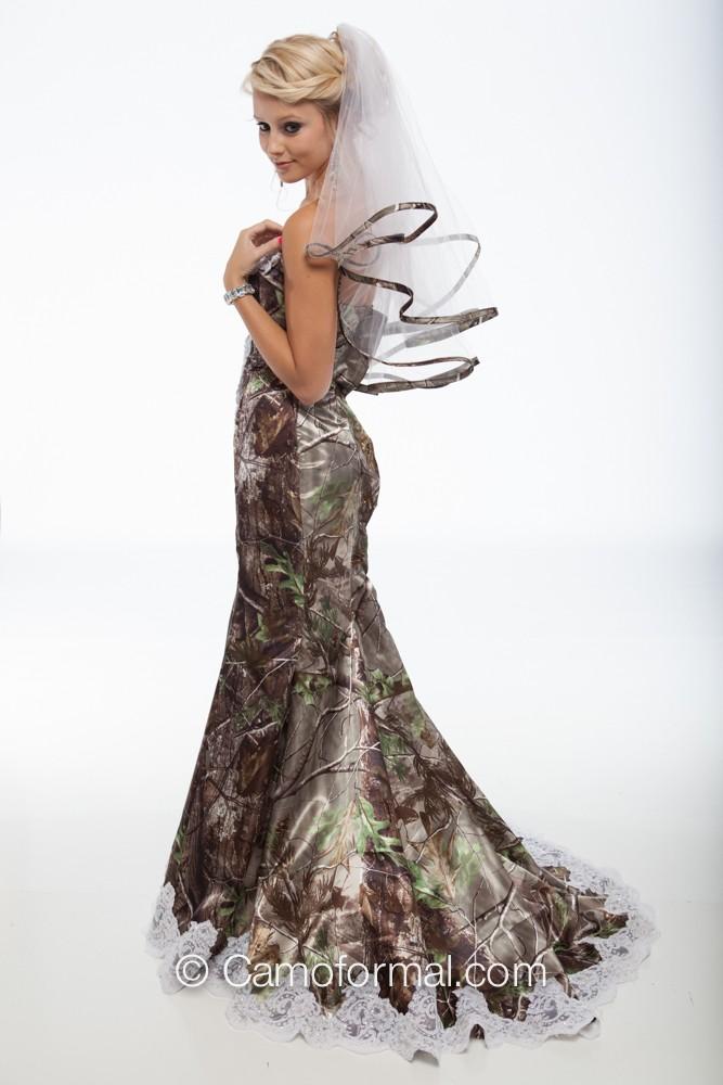 3887 Quot Ellen Quot Camo Mermaid Wedding Gown With Sweep Train
