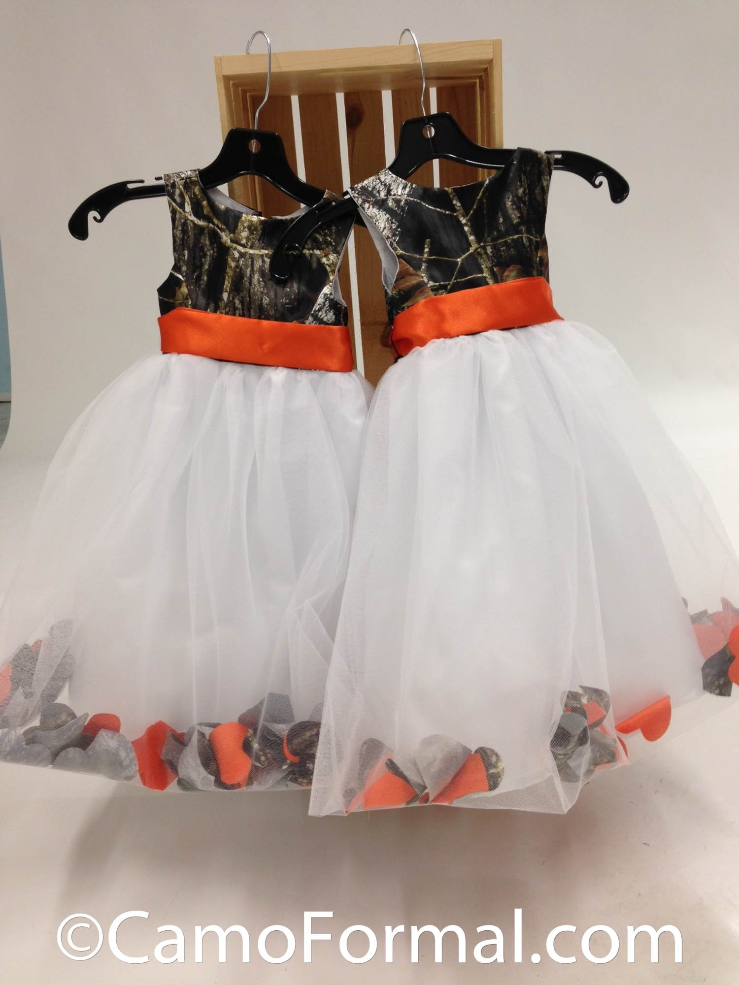 "5602 ""Morgan"" Camo and Petal Flower girl dress Camouflage"