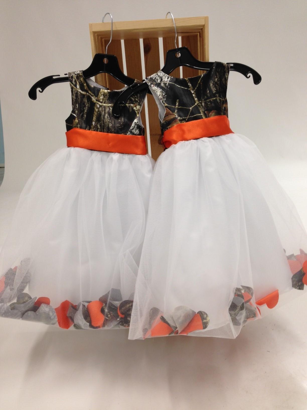 5602 morgan camo and petal flower girl dress camouflage for Orange and camo wedding dress