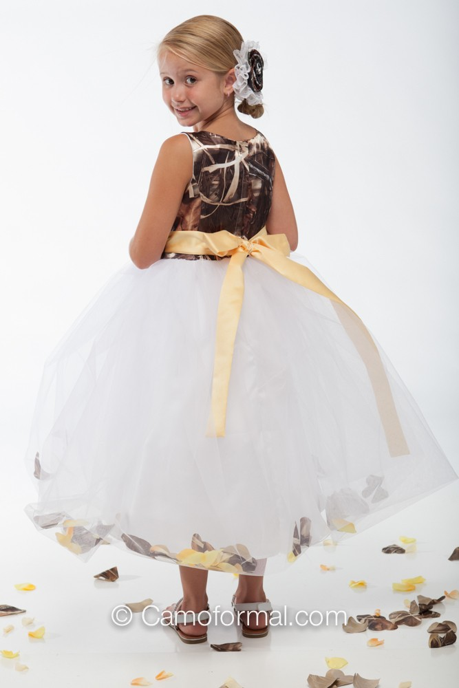 5602 quotmorganquot camo and petal flowergirl dress camouflage