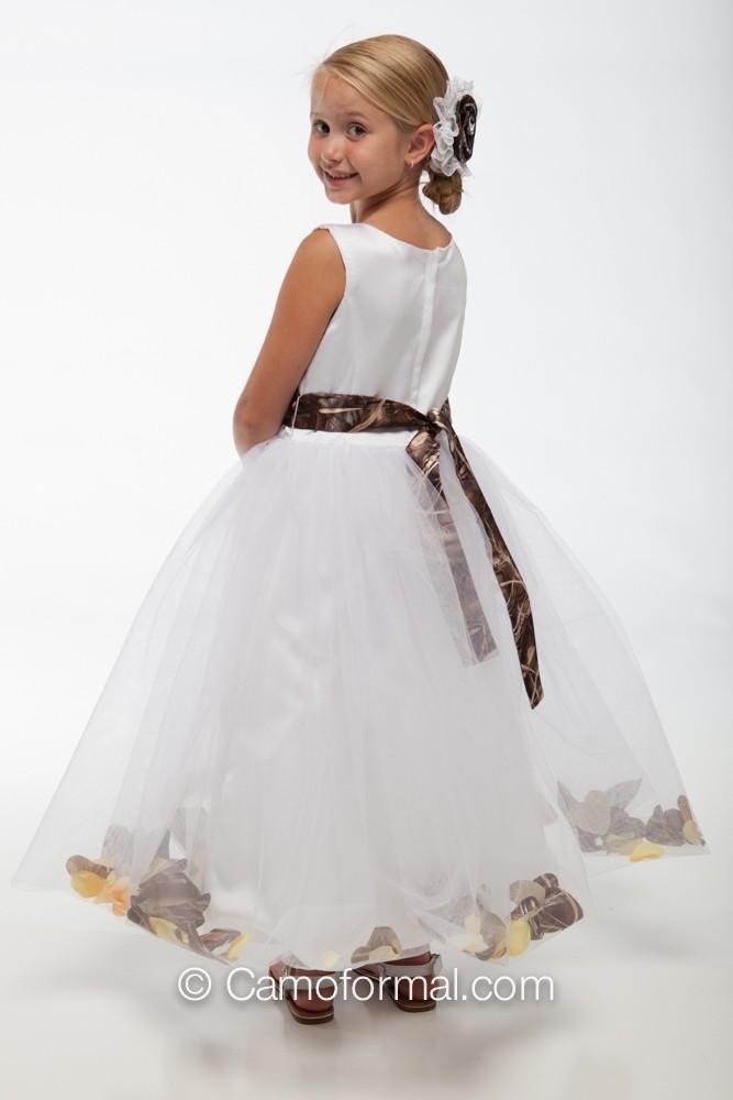 White Camo Flower Girl Dresses 55