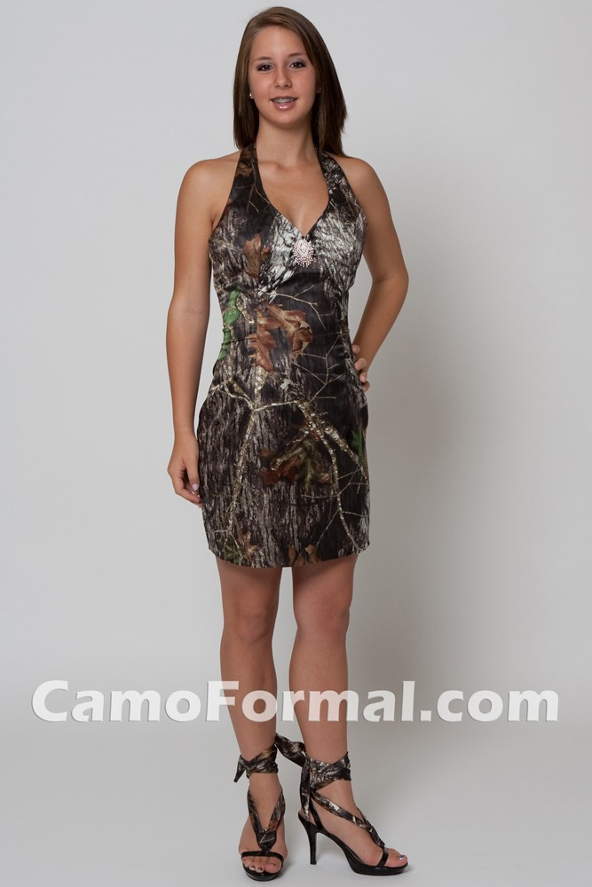 6331 Short Camo Halter Camouflage Prom Wedding Homecoming Formals