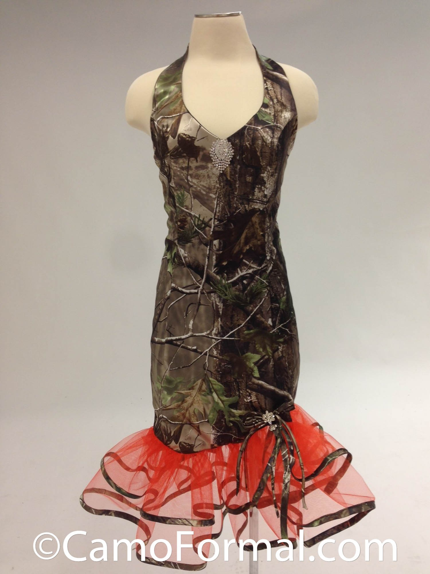 "6334 ""Debbie"" Short Halter with Camo Trim Camouflage Prom"