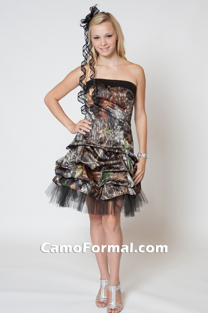 7621 Short Camo Pickup Dress Camouflage Prom Wedding