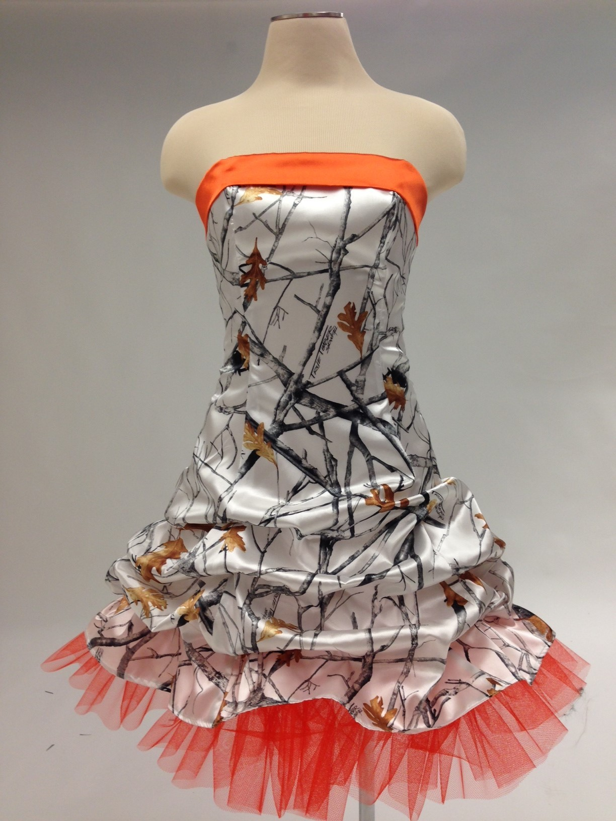 True Timber Snowfall and Orange Camouflage Prom Wedding