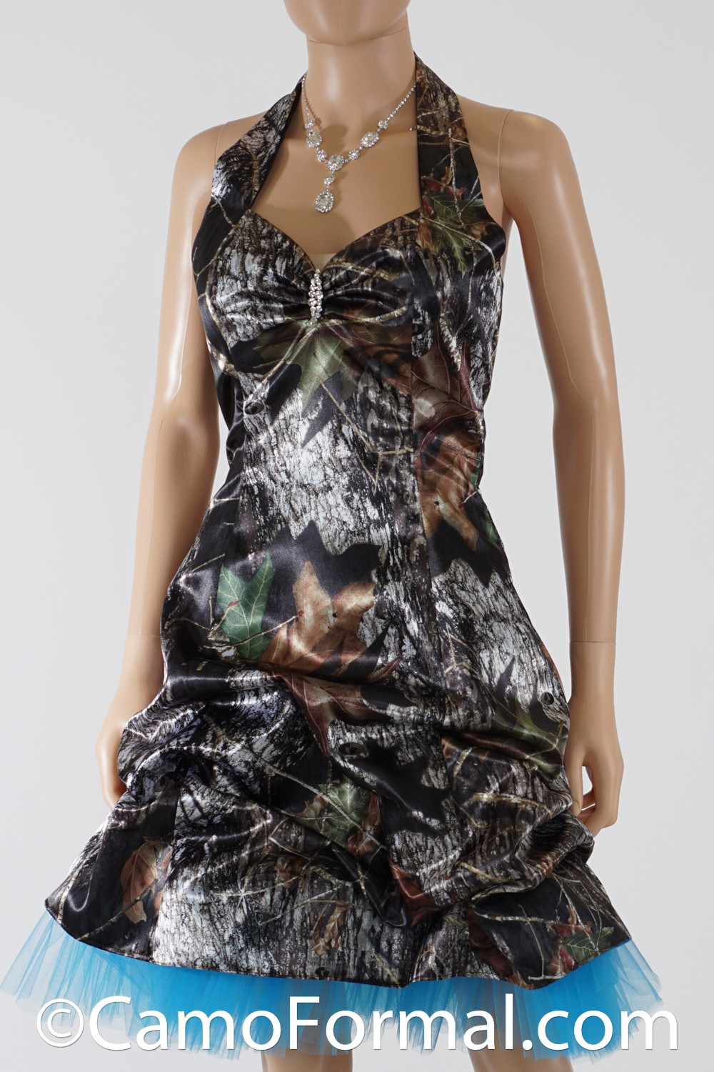 Camo Halter And Pickup Short Dress Camouflage Prom Wedding