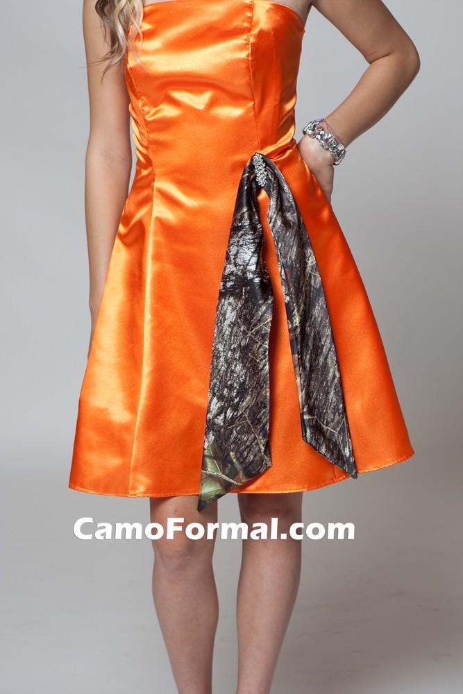 Bm 7702 camo maids aline tea length camouflage prom for Orange and camo wedding dress