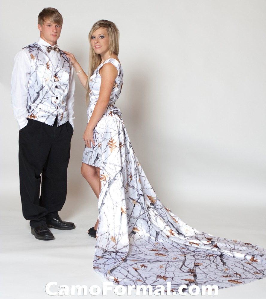 8081 short camo cold shoulder camouflage prom wedding for Snow camo wedding dresses