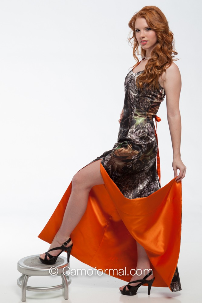 8694 halter contrast lining camouflage prom wedding for Orange and camo wedding dress