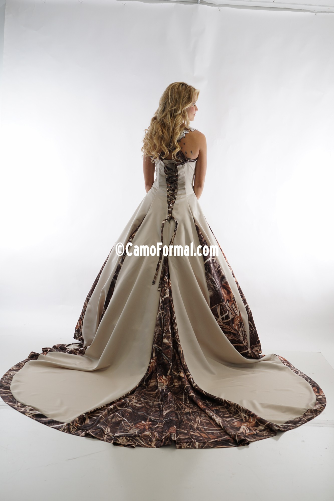 8890 a line halter wedding gown with godets camouflage for Camo ribbon for wedding dress