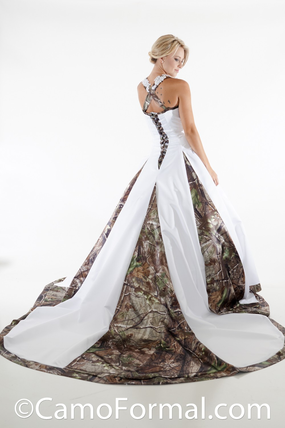 8890 a line halter wedding gown with godets camouflage for Camo accented wedding dresses