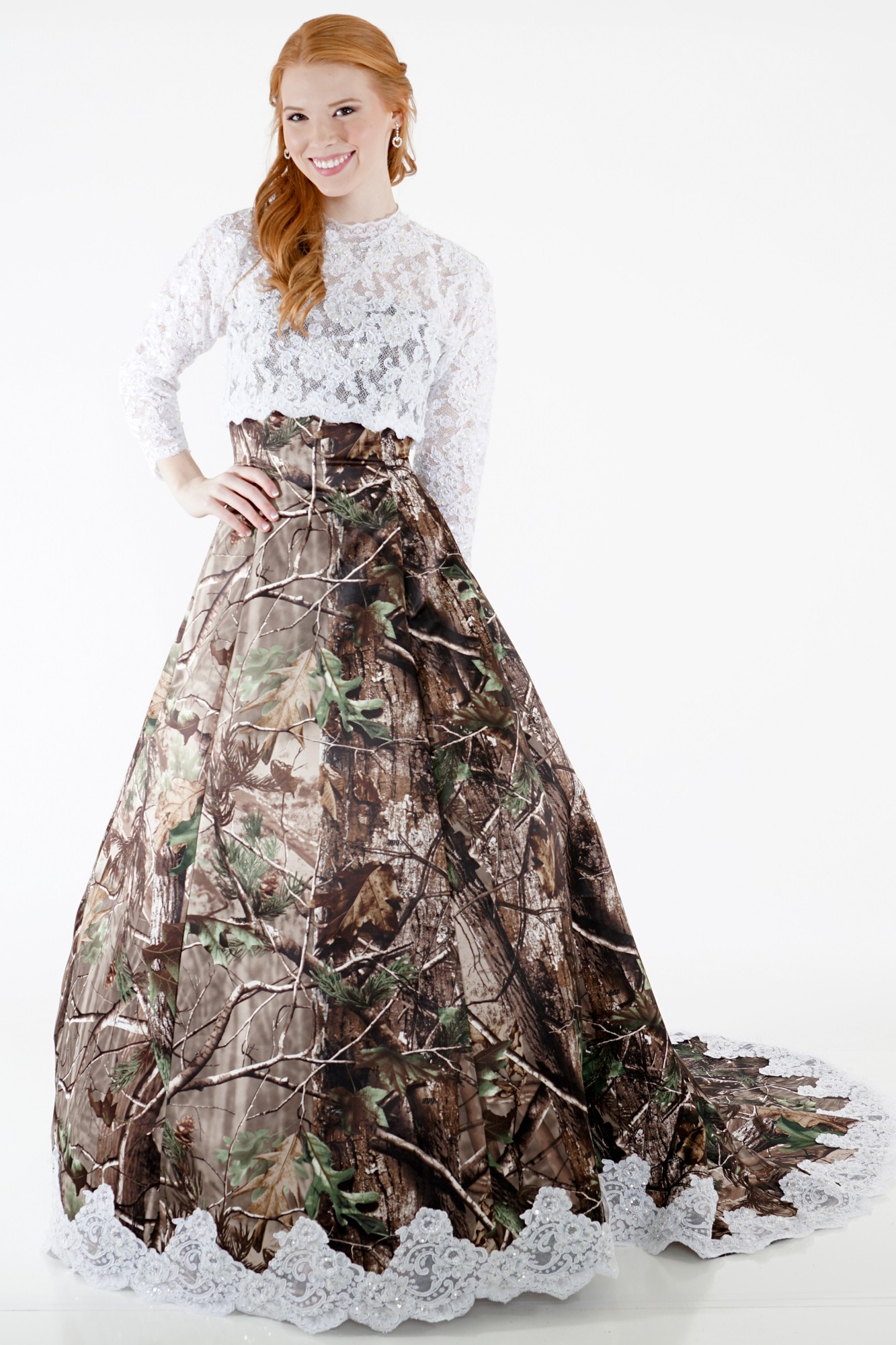Camo wedding gown with lace accent camouflage prom wedding for Camo ribbon for wedding dress
