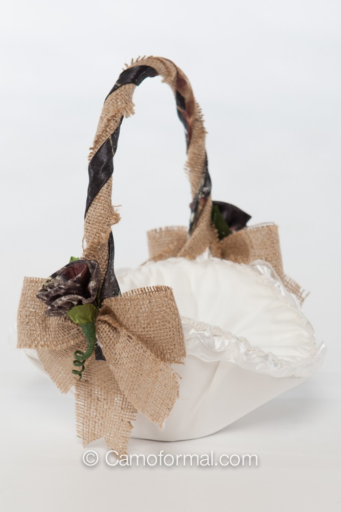 Flower Girl Baskets Burlap : Camo and burlap flower girl basket camouflage prom wedding