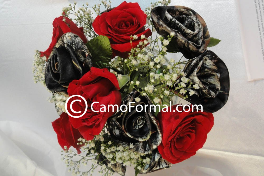 Camo wedding flowers and roses camouflage prom wedding homecoming