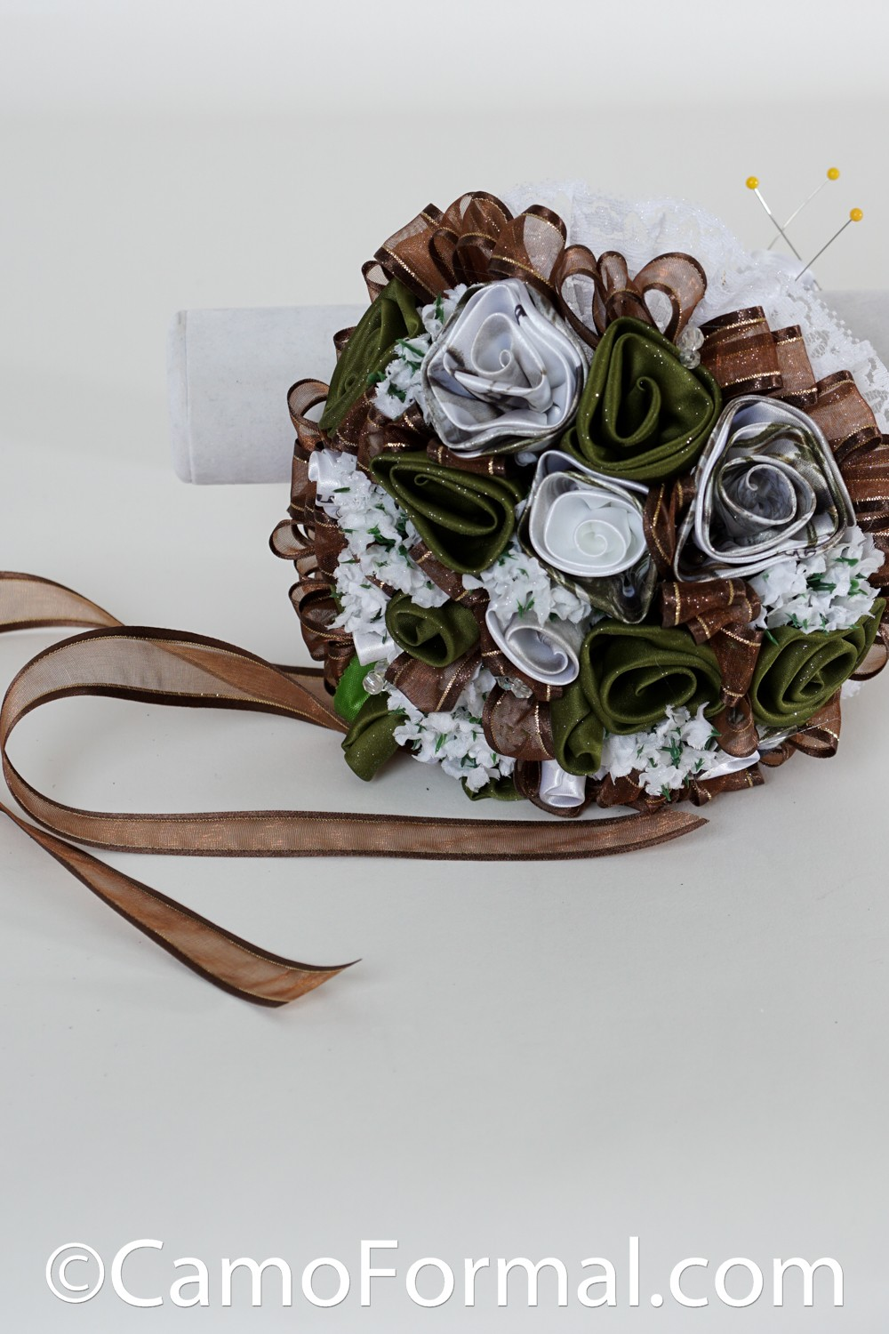 Camo roses and ribbon bridal bouquet camouflage prom for Camo ribbon for wedding dress