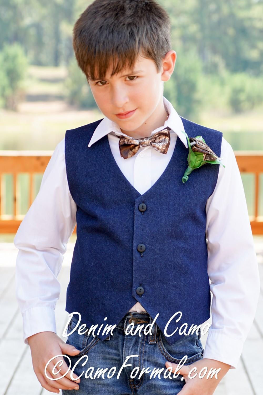 boys denim vest amp bow tie set camouflage prom wedding