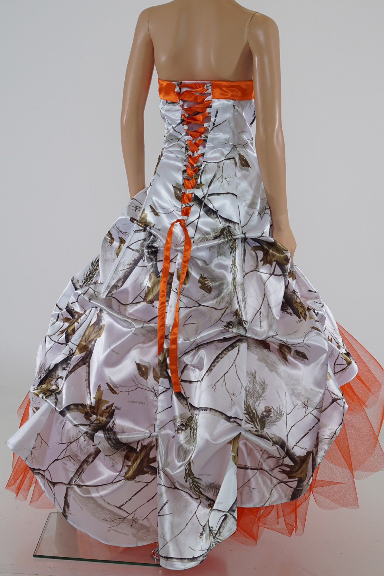 3011 Max 4 and Orange Camo Ball Gown Camouflage Prom