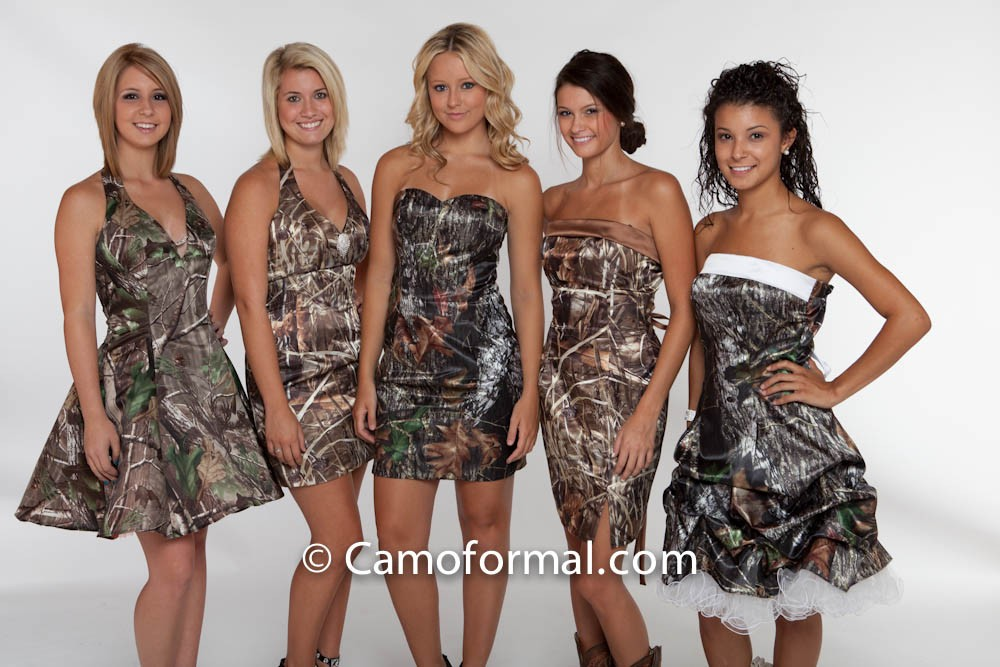 3656 Short Camo Prom Dress Camouflage Wedding Homecoming Formals