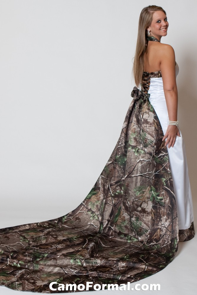 3352wt tie back halter with full roses train camouflage for Camo accented wedding dresses