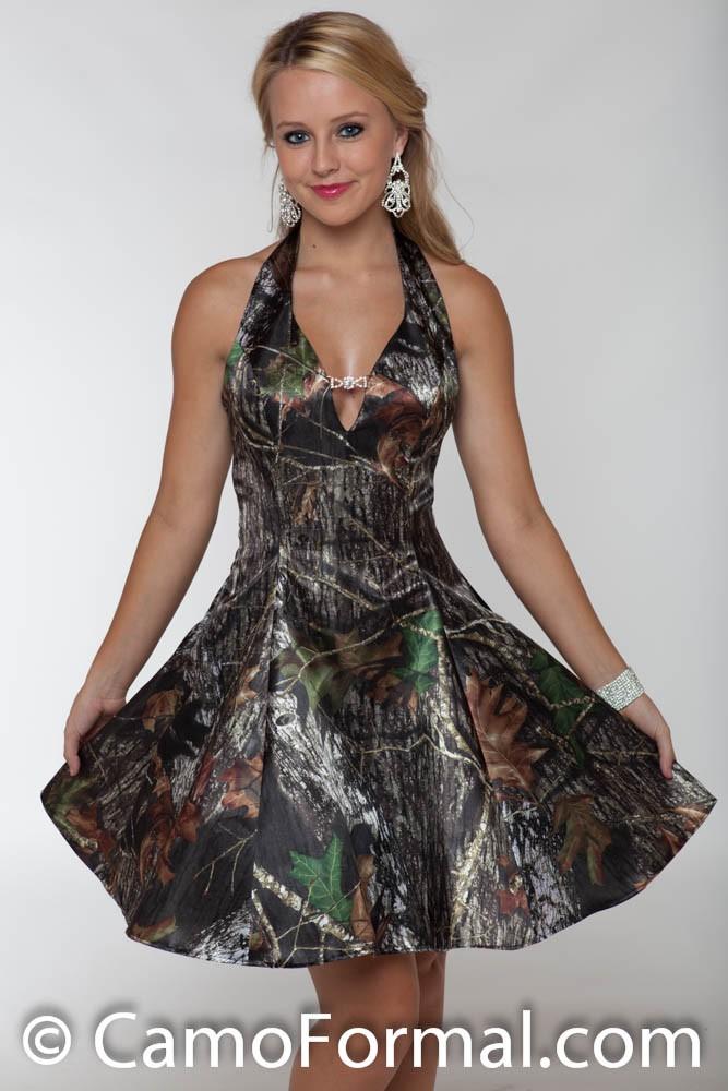 3656 Short Camo Prom Dress With Retro Net Slip Camouflage