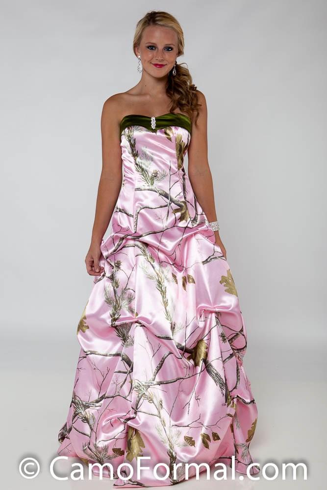3771 gabby a line pickup v neckline color options for Pink camo wedding dresses