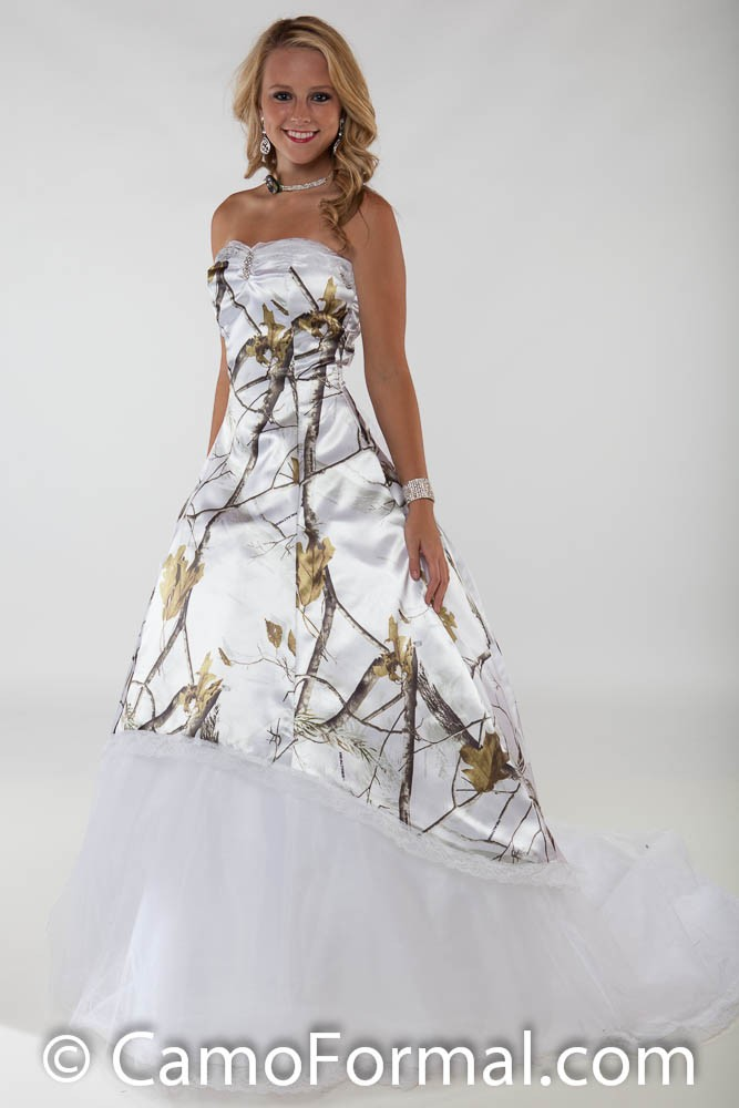 3010 lace option wedding gown with train camouflage prom for Snow camo wedding dresses