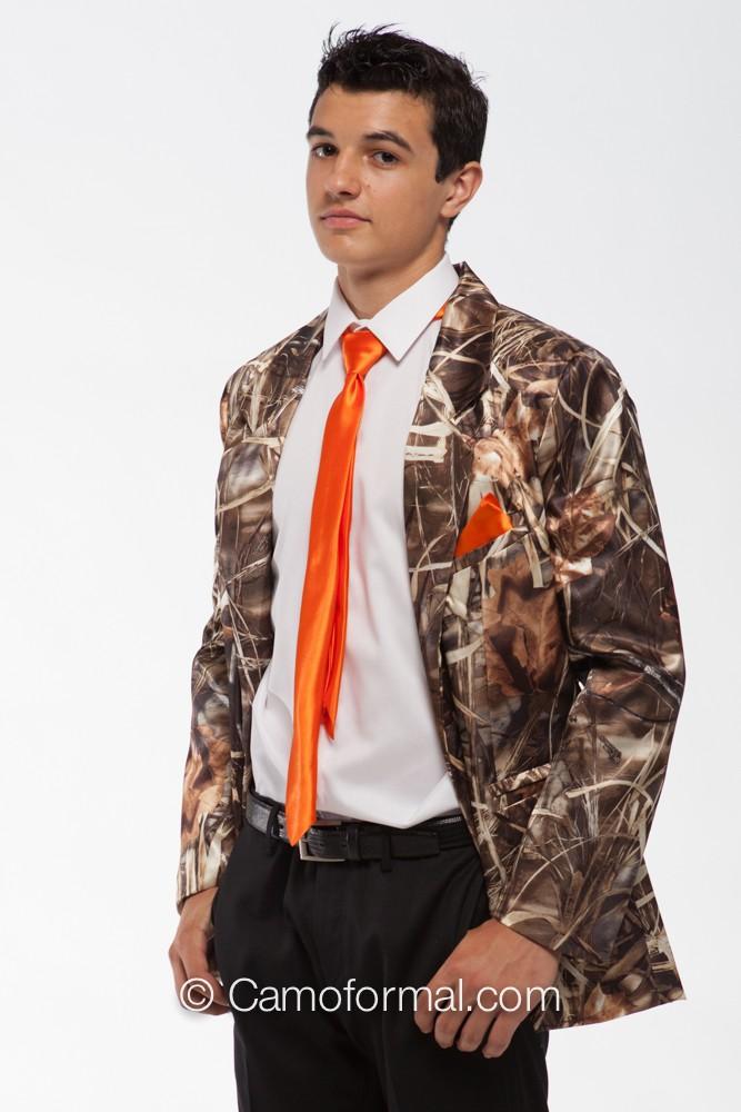 Men s tuxedo jacket in realtree max 4 and hunter s orange skinny tie